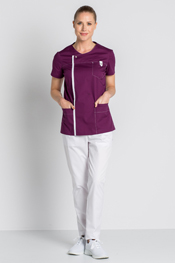 Purple health tunic with snap fastener.