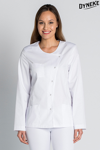 Double-breasted white long-sleeved jacket