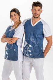 Blusón sanitario microfibra 'pets' azul