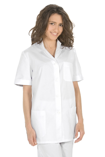 White tunic thin strip neckline