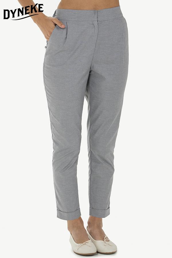 materiales de alta calidad sección especial marca famosa Pantalon gris de mujer con dobladillo. Pantalones para ...