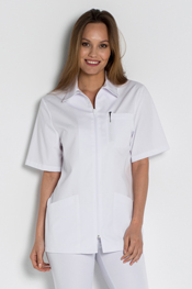 White tunic short sleeve zipper