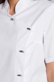 Chaqueta manga corta cruzada botón ovalado