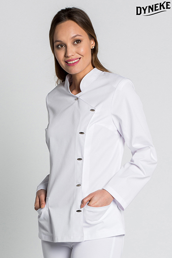Tunic white long-sleeved with horn toggle buttons