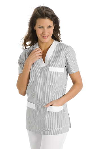 Service tunic with gray striped