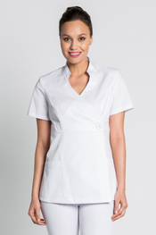White double-breasted short-sleeve kimono-style scrubs