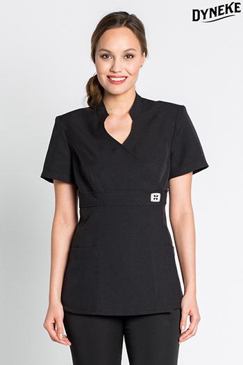 Black kimono-style scrubs