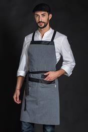 Delantal largo gris bolsillos