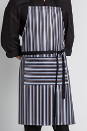 Bib apron with stripes.