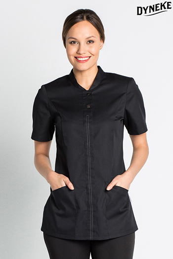 Black short sleeve ladies tunic for facilities