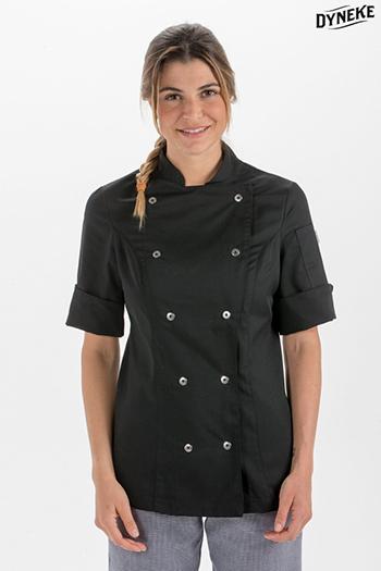 Chaqueta cocinera negra manga 3/4