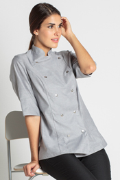 Gray chef jacket for woman