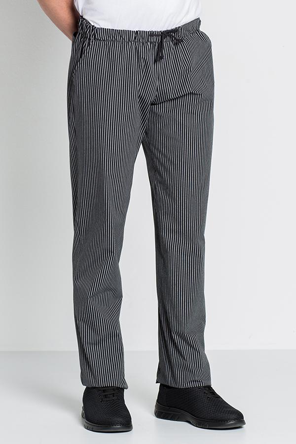52d2888c40c Pantalón negro con rayas blancas cocinero cinturilla con cordón ...