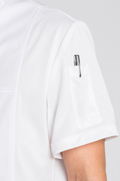 Chef's jacket with zip fastening.