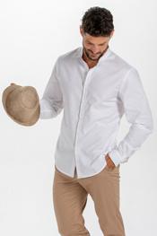 Camisa caballero blanca cuello mao