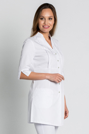 Frock length jacket squared buttons