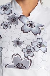 Chaqueta estampada flores blanca manga corta