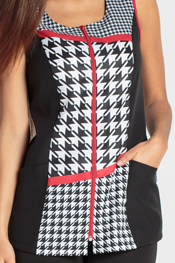 Sleeveless pattern tunic houndstooth