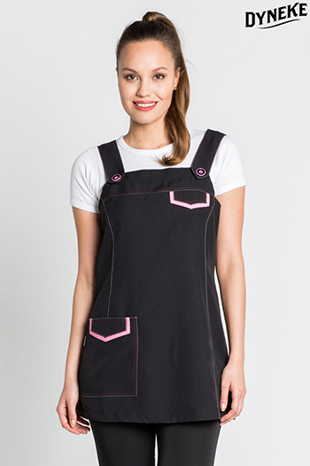 Black jumper dress with pink contrasts