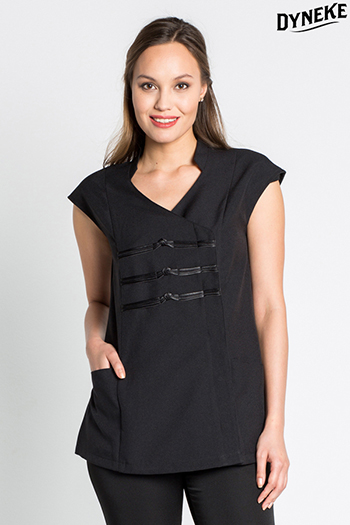 Black tunic with satin brooches