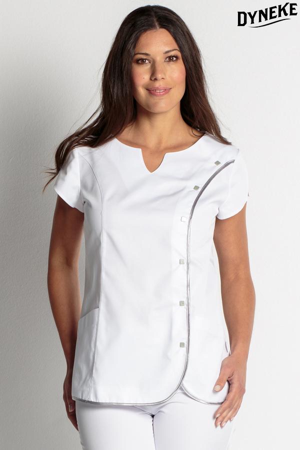 Chaqueta blanca elegante manga caida con detalle en cuello - Uniformes sanitarios modernos ...