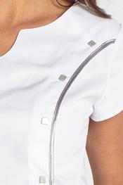 Casaca blanca manga corta con vivo saten