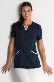 Navy Blue health tunic with snap fastener.