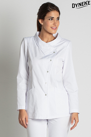Tunic white asymmetric collar
