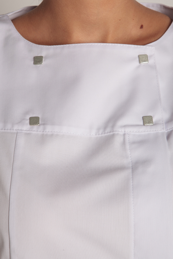White jacket boat neckline