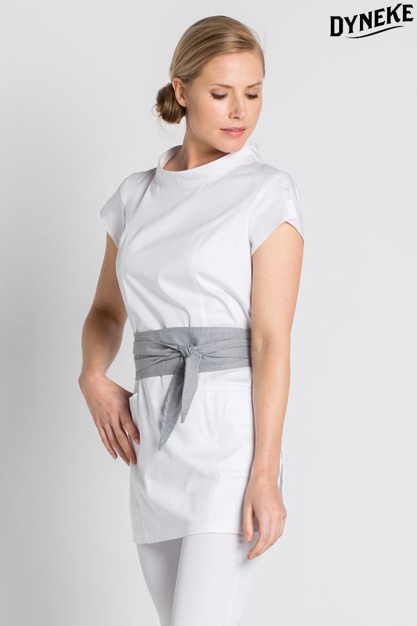 Casaca blanca para spa casaca con cintur n batas para for Spa uniform singapore