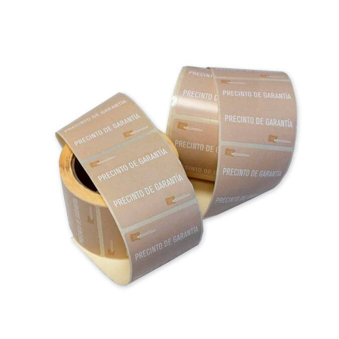 Bobina etiqueta adhesiva precinto de garantia