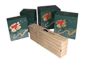 Cajas de Navidad para botellas, lotes de Navidad y pizzas.