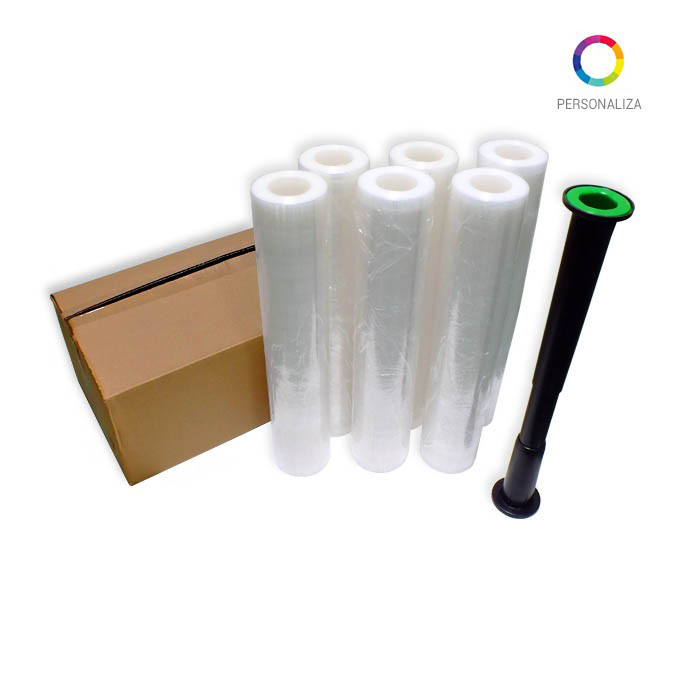 Film estirable Coreless. Impreso a 1 Tinta de 2,2 Kg 23 o 30 micras.