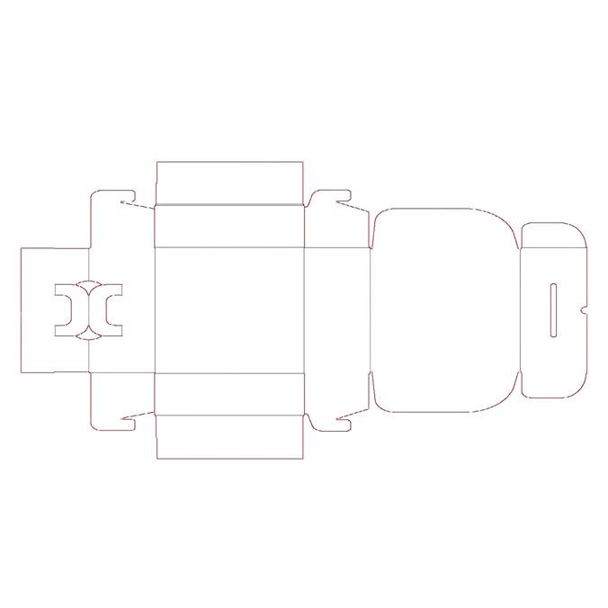 Troquel modelo caja de carton maletin para envios cerrado 350x118x255mm