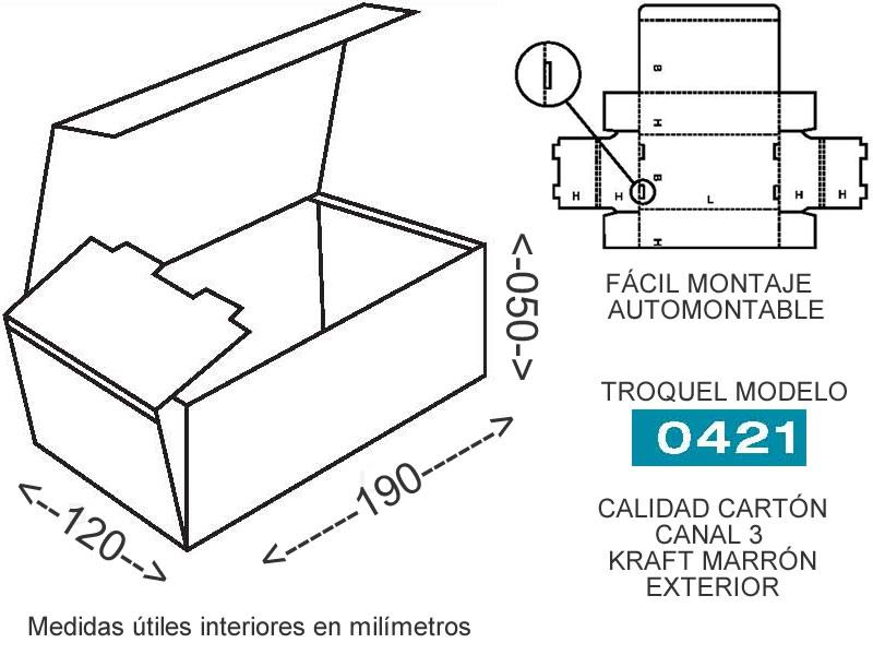 Caja de carton para envios 190x120x050mm