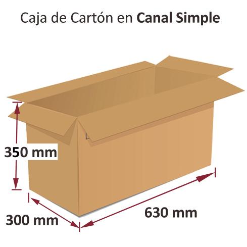 Dibujo medidas caja de carton canal simple 630x300x350mm