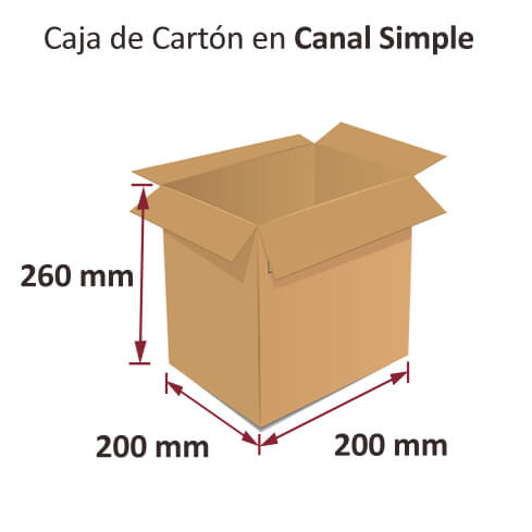 Dibujo medidas cajas al por mayor canal simple 200x200x260mm