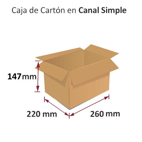 Dibujo medidas cajas al por mayor canal simple 260x220x147mm