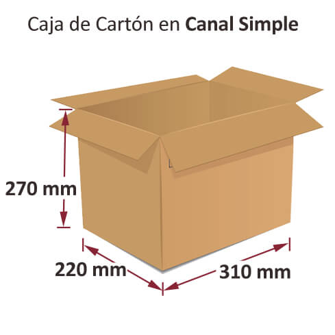 Dibujo medidas cajas al por mayor canal simple 310x220x270mm