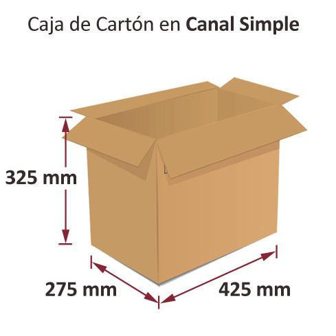 Dibujo medidas cajas al por mayor canal simple 425x275x325mm
