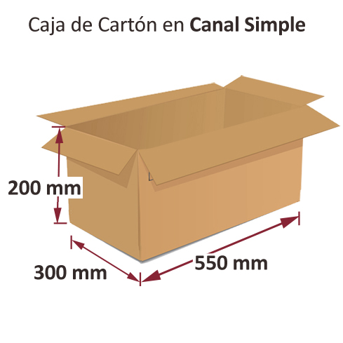 Dibujo medidas cajas al por mayor canal simple 550x300x200mm