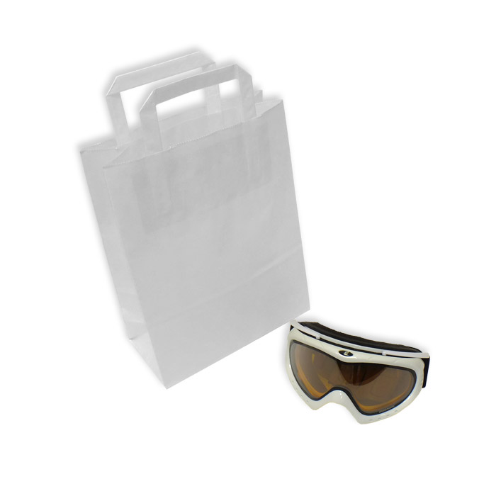 Bolsas de Papel Blancas Asa Plana 22 + 10 x 29 cm