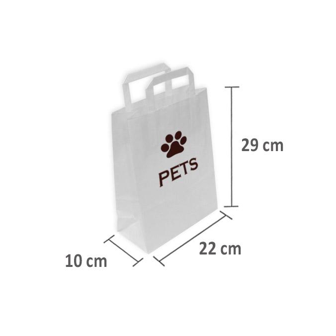 Bolsas de Papel Blancas Personalizadas 22+10x29cm