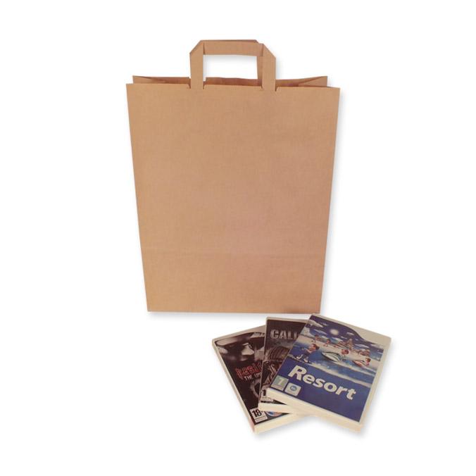 Bolsas de Papel Kraft Asa Plana 32 + 13 x 41 cm
