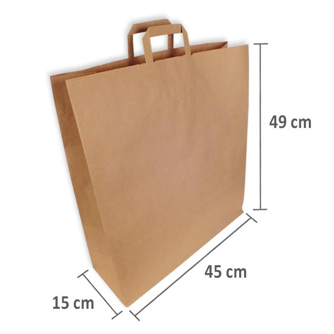 Bolsas de Papel Kraft Asa Plana 45 + 15 x 49 cm