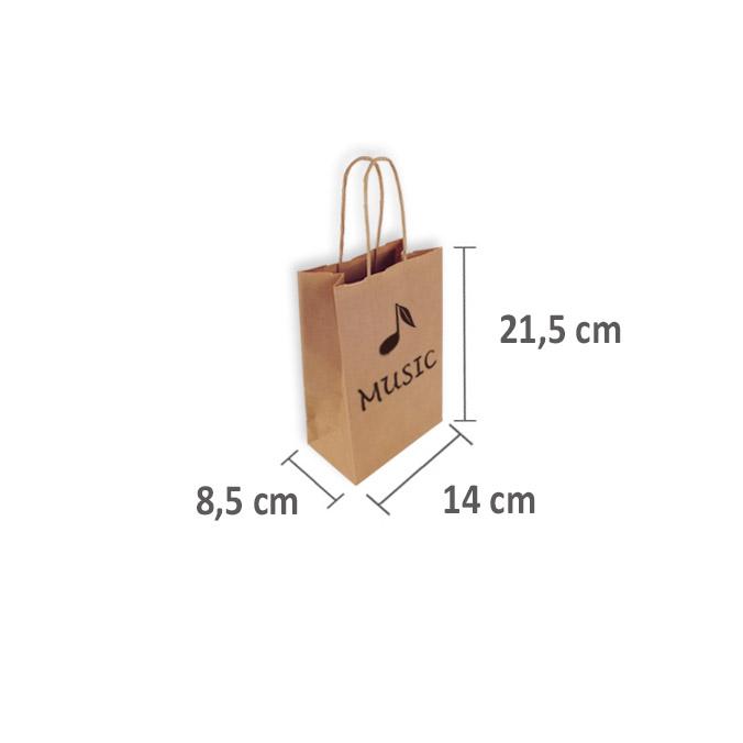 Bolsas de Papel Personalizadas 14+8,5x21,5cm