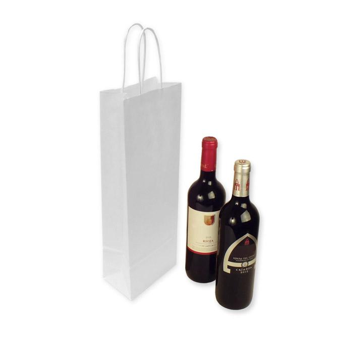 Bolsas de Papel Blancas 14+8,5x39,5cm. Botellas