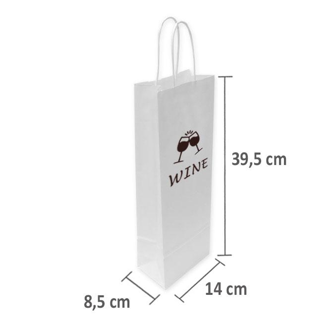 Bolsas de Papel Blancas Personalizadas 14+8,5x39,5cm