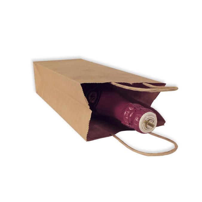 Bolsas de Papel Kraft 14+8,5x39,5 cm. Botellas