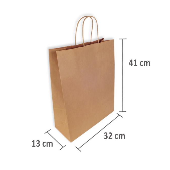 Bolsas Papel Kraft 32+13x41cm